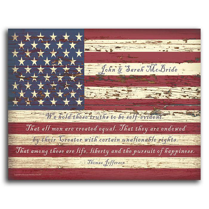 Wood American flag wall art with Declaration of Independence quote - Personal-Prints