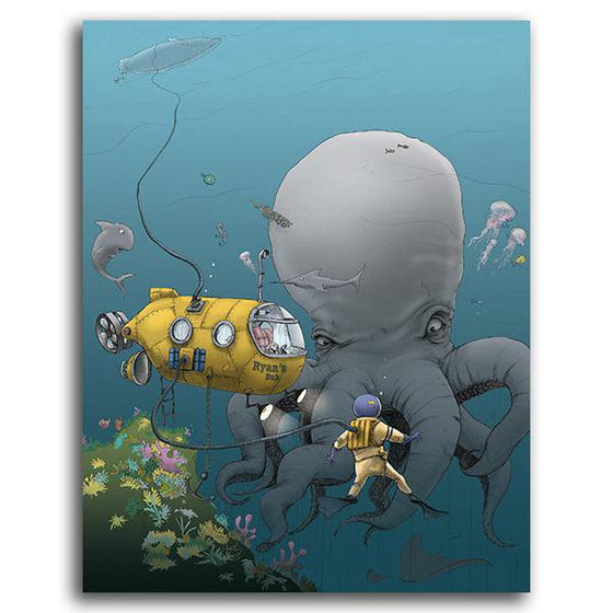 Personalized children's art print of an octopus and submarine - Personal-Prints