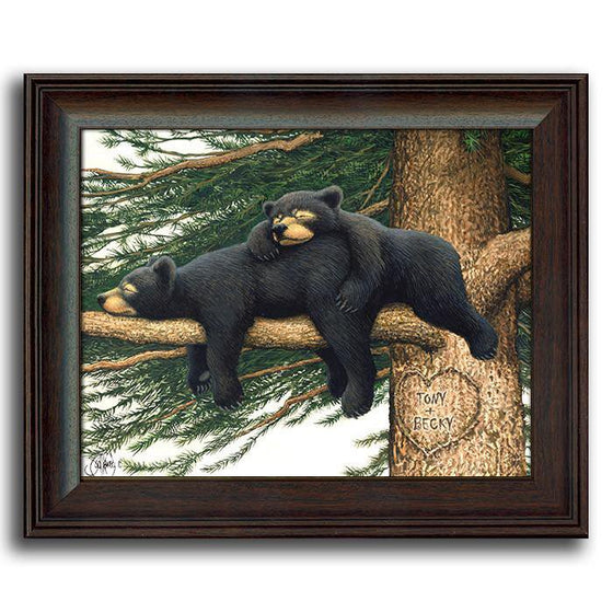 Personalized framed animal art of two black bears sleeping on a tree branch - Personal-Prints