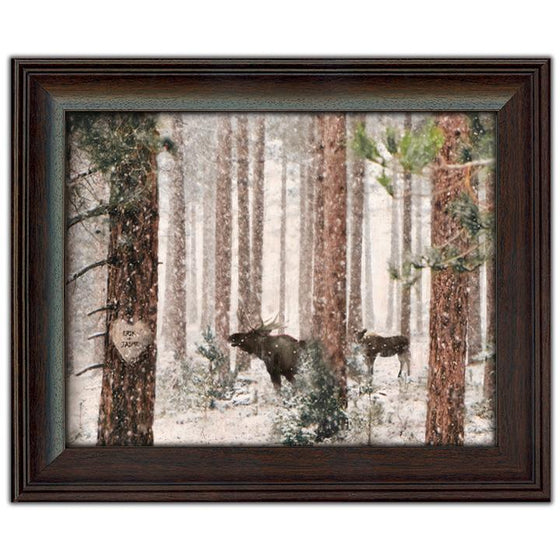 Winter Woods Moose Art Print Customized with Names- Framed behind glass