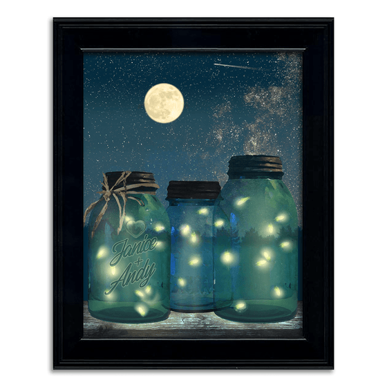 fireflies mason jar art - personalized romantic gift from Personal Prints