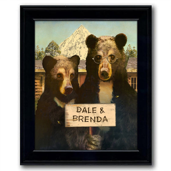 Framed Black Bear Art Personalized for you