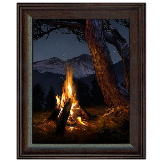 Mountain Campfire Art framed under glass