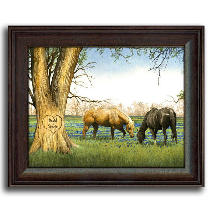 Blue bonnet spring personalized art detail · personalized nature wall decor of two horses in a field next to a tree personal