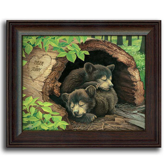 Animal art print of two bear cubs napping in a hollow tree - Personal-Prints