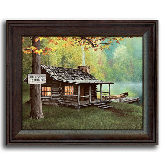 Personalized art of a cabin by a lake with a welcome sign - Personal-Prints