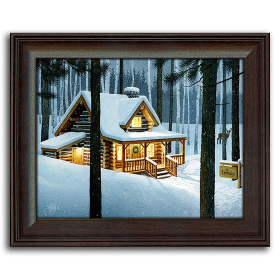 Personalized art of a cottage in the woods in winter - Personal-Prints