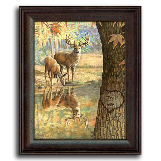 Personalized painting of deer next to a lake and your names carved into a tree - Personal-Prints