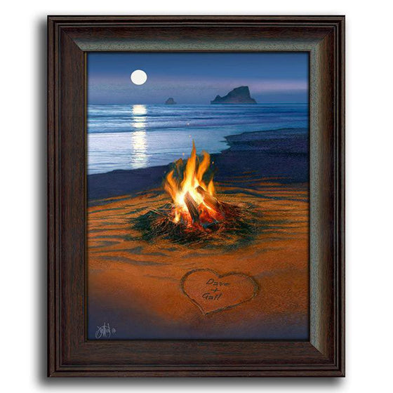 Beach scene on canvas of a campfire and a moon reflecting on the water - Personal-Prints
