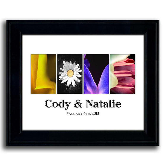 Personalized art using colorful photographs of flowers to spell the word LOVE and your name below - Personal-Prints