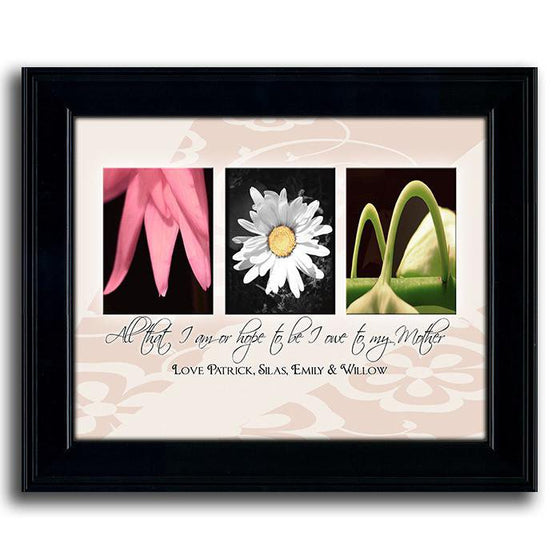 Framed flower print that uses photographs of flowers to spell the word MOM and a personalization below - Personal-Prints