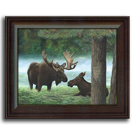 Personalized art with two moose in a forest - Personal-Prints