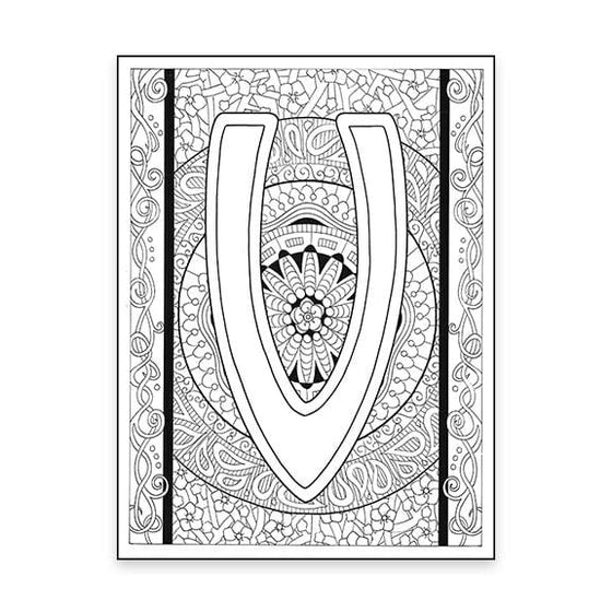 V Monogram Coloring Page