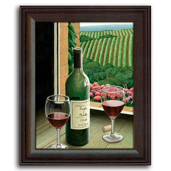 Personalized framed art painting of a window looking out at a vineyard - Personal-Prints