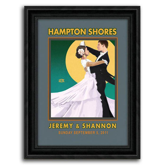 Vintage canvas art print with a bride and groom dancing in front of a full moon - Personal-Prints