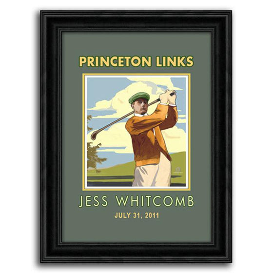 Personalized vintage golf print of a man swinging a club - Personal-Prints