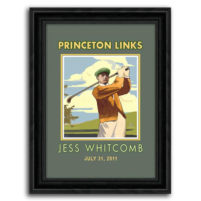 Personalized Vintage Golf Print Of A Man Swinging A Club   Personal Prints