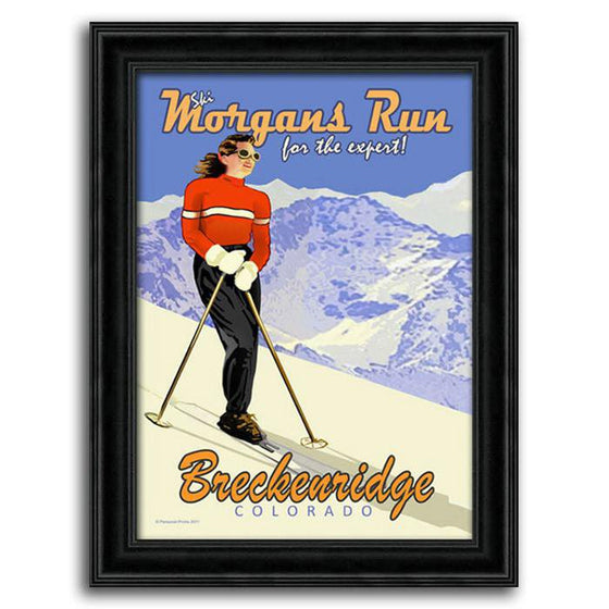 Vintage ski art of mountain & woman skier - Personalized canvas art from Personal-Prints
