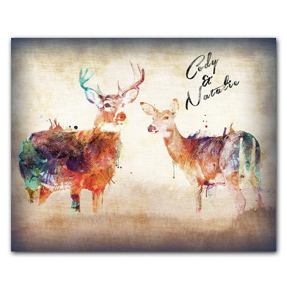 Personalized whitetail deer watercolor painting with vivid colors - Personal-Prints