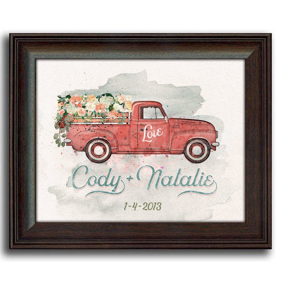 Romantic personalized gift of nostalgic watercolor art featuring a red truck and