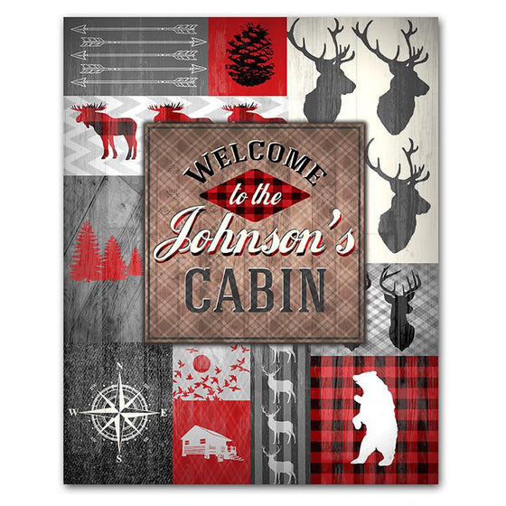 Buffalo Plaid Welcome to Our Cabin Personalized Sign