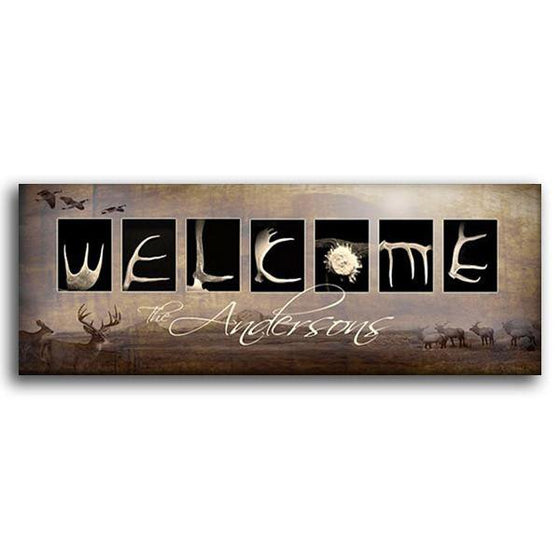 Personalized art using photographs of deer antlers to spell the word Welcome - Personal-Prints