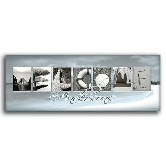 Personalized framed coastal art using beach-themed images to spell the word Welcome - Personal-Prints