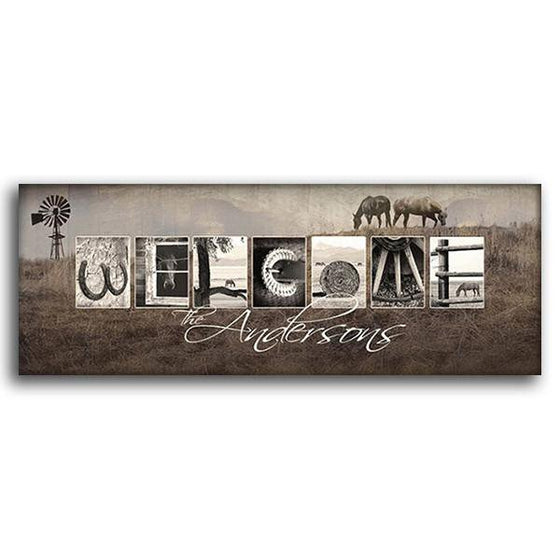 Personalized horse art print using horse-themed photographs to spell the word Welcome - Personal-Prints