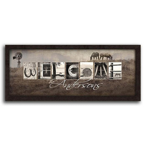 Welcome Horse Framed Canvas
