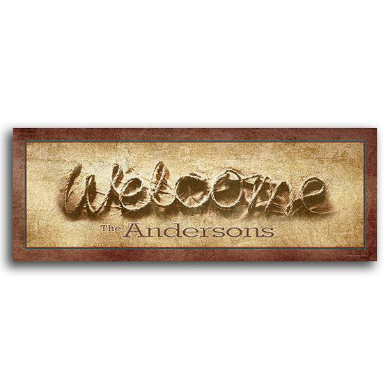 Personalized Country Ranch Decor - Spells Welcome with Rope and your Personalized name on the sign
