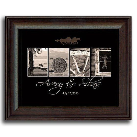 Western style art using horse-themed, black and white photographs to spell the word LOVE - Personal-Prints
