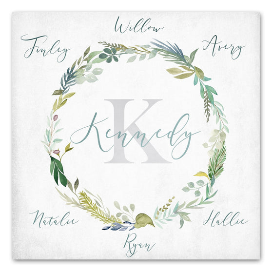 Watercolor Family Names Wreath Art Print