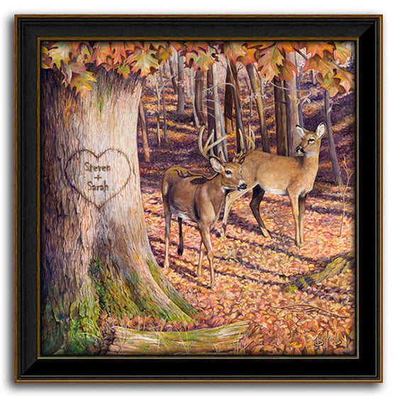 Personalized nature wall decor with two deer in an autumn forest - Personal-Prints
