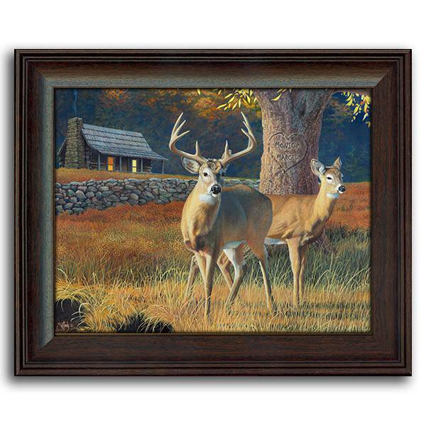Whitetails Framed Under Glass