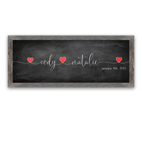 Personalized Love Intertwined romantic art decor including yours and your partner's names and date
