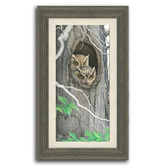 Original, personalized art of two owls hiding in a tree - Personal-Prints