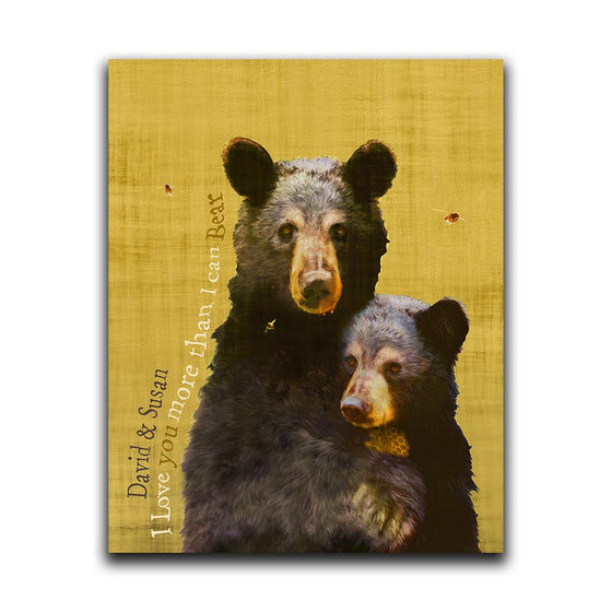 Personalized yellow black bear art - Personal-Prints
