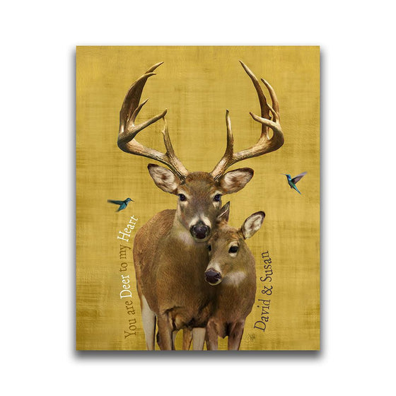 Personalized whitetail deer painting in yellow - Personal-Prints