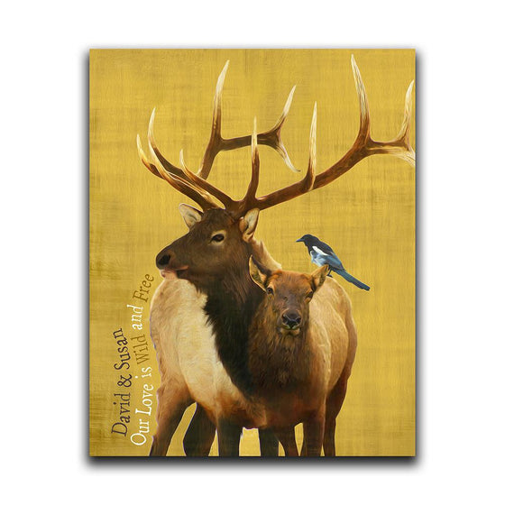 Personalized yellow elk print with bird - Personal-Prints