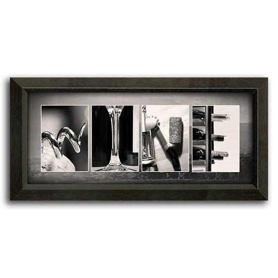 Personalized wine art decor using themed images to spell the word Wine - Personal-Prints