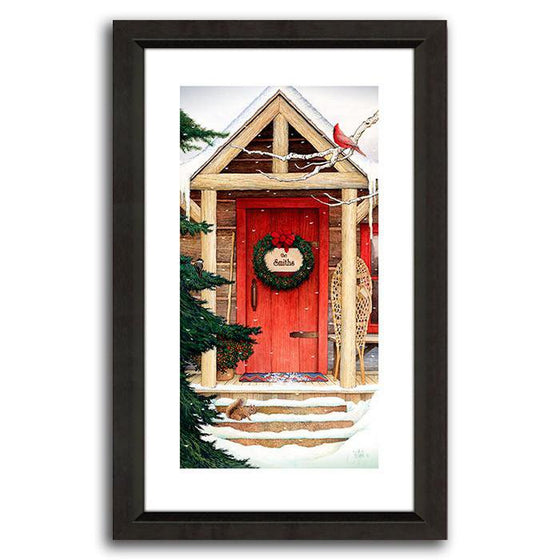 Personalized art with a red door and pine tree in winter - Personal-Prints