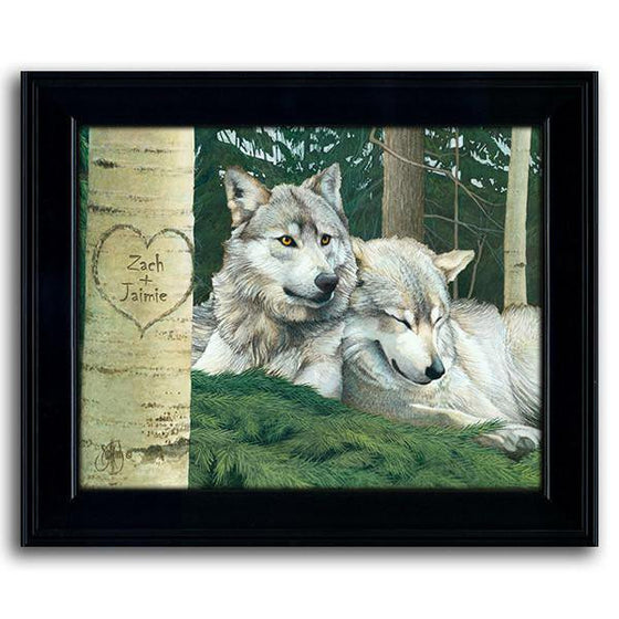 Personalized nature wall decor with two wolves resting in the grass - Personal-Prints