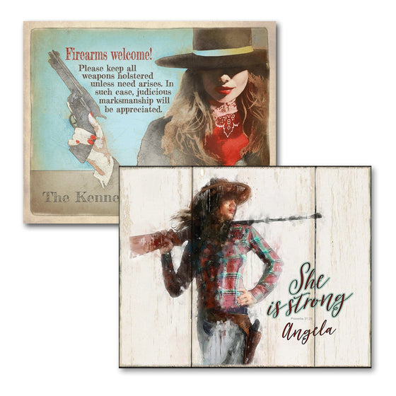 "Personalized Gun Signs With ""Firearms Welcome"" and ""She is Strong"" Quotes- Mounted to Wood Block"