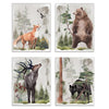 Woodland animals wall art decor set - fox, bear, elk and wolf