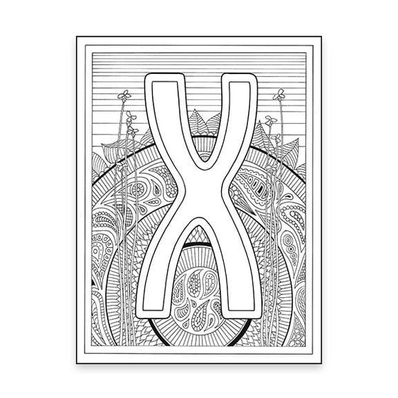 X Monogram Coloring Page