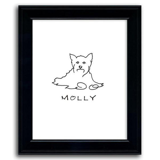 Personalized Yorkie wall art line drawing with the dog's name - Personal-Prints