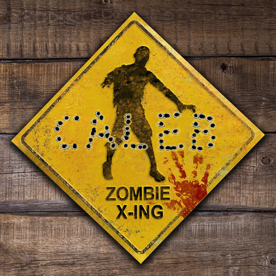 Zombie - Personalized Bullet Hole Wood Block Mount Sign