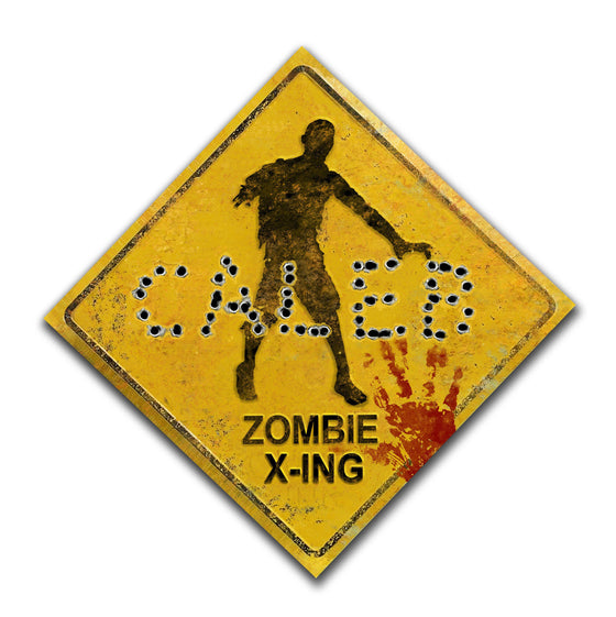 Whimsical Zombie Crossing Sign With Name Spelled in Bullet Holes