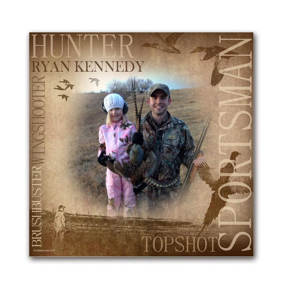 Personalized waterfowl bird hunting/ sportsman art print using your name and your photograph- wood block mount