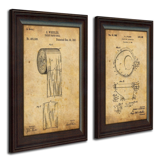 Framed vintage patent art of the original patent for toilet paper and bowl - Personal-Prints